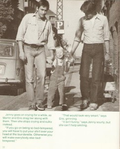 photograph of jenny walking down street with eric and martin