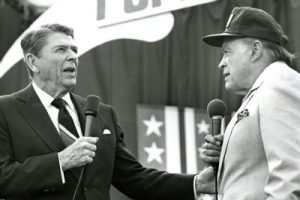Ronald Reagan and Bob Hope on stage together