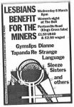 Flyer for Miners benefit at the Bell